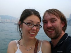 Felix Behling in Hong Kong, accompanied by his wife Simona Szakacs